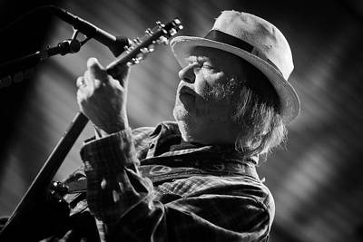 Neil Young In Black And White 2 Poster by The  Vault - Jennifer Rondinelli Reilly