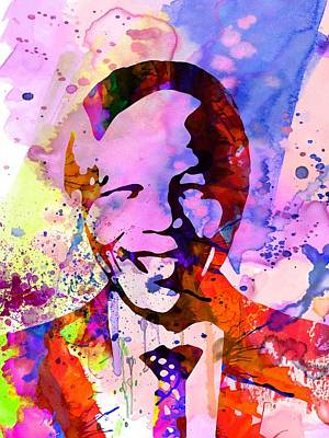 Nelson Mandela Watercolor Poster by Naxart Studio