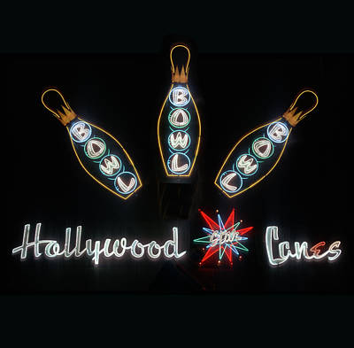 Neon Hollywood Star Lanes Poster by Barbara Filet