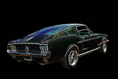 Neon Mustang Fastback 1967 Poster by Gill Billington