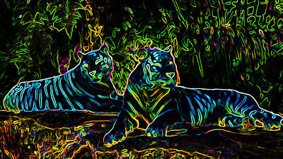Neon Tigers Poster by Ron Fleishman