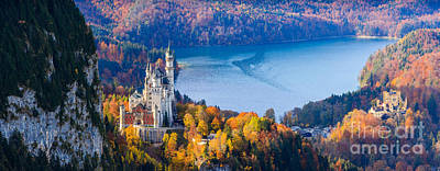 Neuschwanstein And Hohenschwangau Castle In Autumn Colours Poster by Henk Meijer Photography