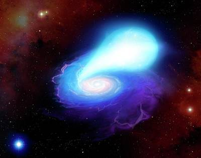 Neutron Star And White Dwarf Merging Poster by Mark Garlick