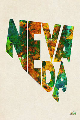 Nevada Typographic Watercolor Map Poster by Ayse Deniz