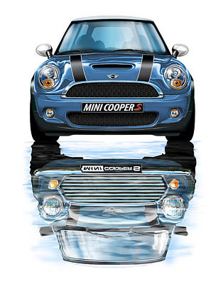 New Bmw Mini Cooper S Blue Poster by David Kyte