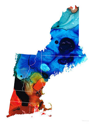 New England - Map By Sharon Cummings Poster by Sharon Cummings