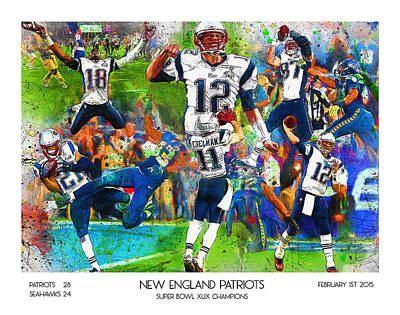 New England Patriots Champions 2015 Poster by John Farr