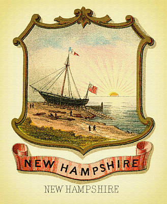 New Hampshire Coat Of Arms - 1876 Poster by Mountain Dreams