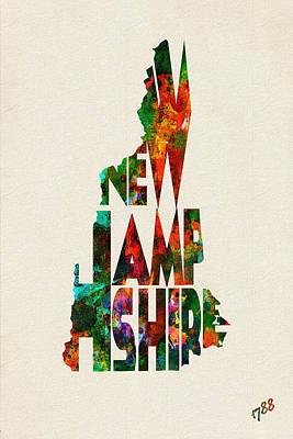 New Hampshire Typographic Watercolor Map Poster by Ayse Deniz