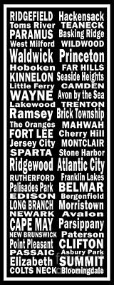 New Jersey Towns Canvas Art.com Poster by Joans Craft World