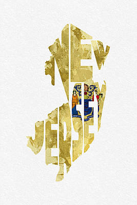 New Jersey Typographic Map Flag Poster by Ayse Deniz