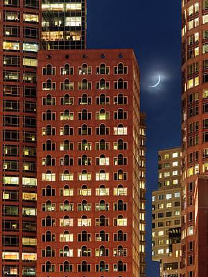 New Moon Over Boston Poster by Babak Tafreshi