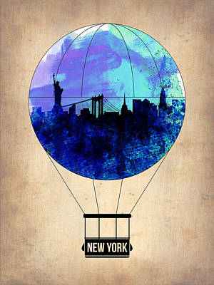 New York Air Balloon 2 Poster by Naxart Studio