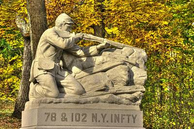 New York At Gettysburg - 78th Cameron Highlanders - 102nd Van Buren Light Ny Vol Infantry Culps Hill Poster by Michael Mazaika