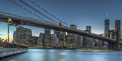 New York - Blue Hour Over Manhattan Poster by Michael Jurek