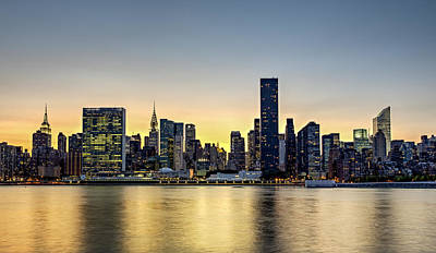 New York City Dusk Colors Poster by Susan Candelario