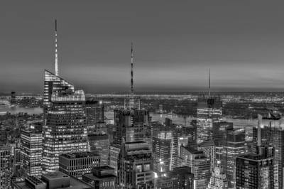 New York City Midtown Bw Poster by Susan Candelario
