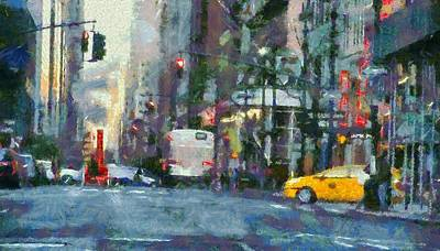 New York City Morning In The Street Poster by Dan Sproul