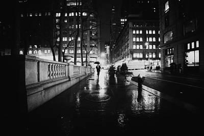New York City - Night Rain Poster by Vivienne Gucwa