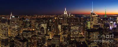 New York City Skyline At Dusk Poster by Mike Reid
