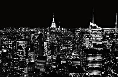 New York City Skyline At Night Poster by Dan Sproul