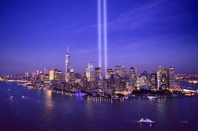 New York City Tribute In Lights World Trade Center Wtc Manhattan Nyc Poster by Jon Holiday