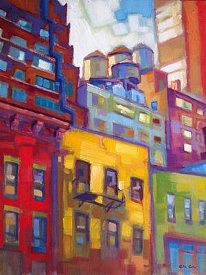 New York City Water Towers Poster by Caleb Colon