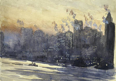 New York Harbor And Skyline At Night Circa 1921 Poster by Aged Pixel