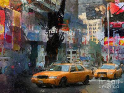 New York Lights Poster by Lutz Baar