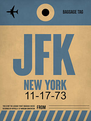 New York Luggage Tag Poster 2 Poster by Naxart Studio