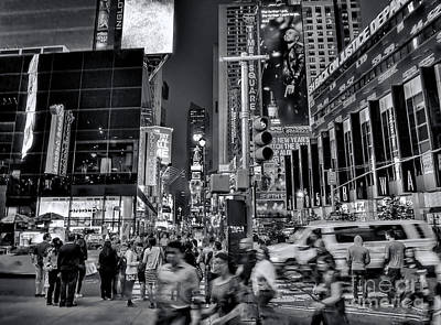 New York Minute In Black And White Poster by Jeff Breiman