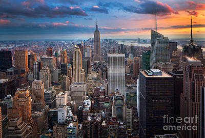 Dusk Poster featuring the photograph New York New York by Inge Johnsson