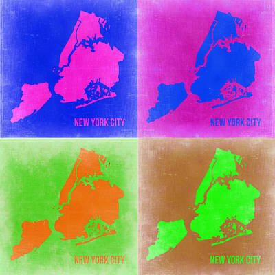 New York Pop Art  Map 2 Poster by Naxart Studio