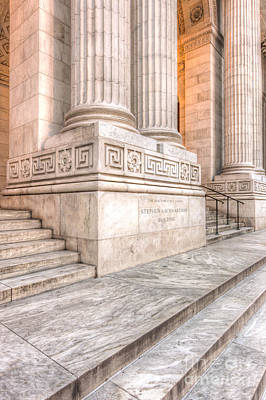New York Public Library Columns And Stairs I Poster by Clarence Holmes