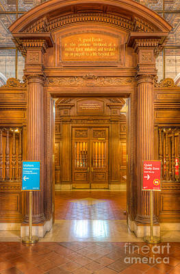 New York Public Library Main Reading Room Entrance I Poster by Clarence Holmes
