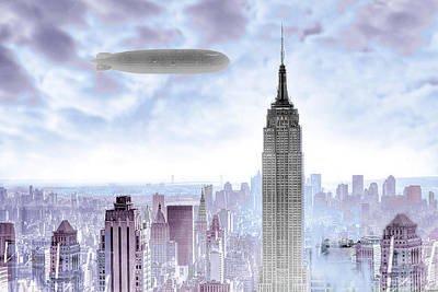 New York Skyline And Blimp Poster by Tony Rubino