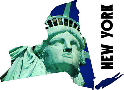 New York State Map Poster by Celestial Images