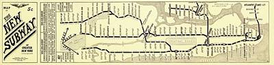 New York Subway Map Poster by Library Of Congress, Geography And Map Division
