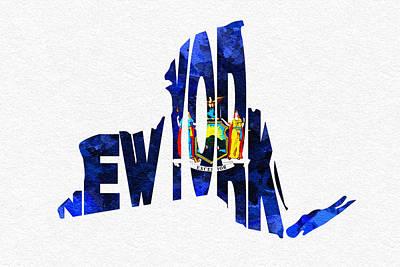 New York Typographic Map Flag Poster by Ayse Deniz