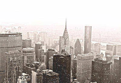 New York Winter - Skyline In The Snow Poster by Vivienne Gucwa