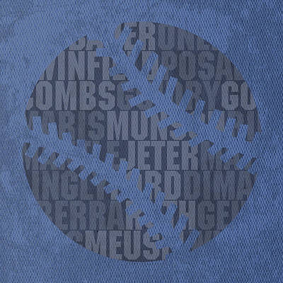 New York Yankees Baseball Typography Famous Player Names On Canvas Poster by Design Turnpike