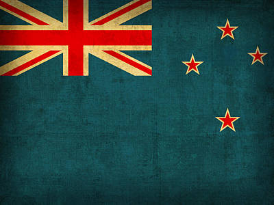 New Zealand Flag Vintage Distressed Finish Poster by Design Turnpike
