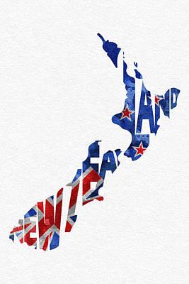 New Zealand Typographic Map Flag Poster by Ayse Deniz