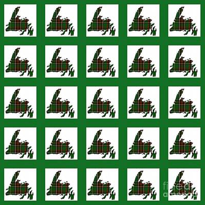 Newfoundland Tartan Map Blocks Green Trim Poster by Barbara Griffin