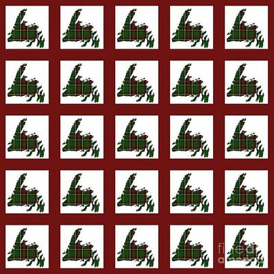 Newfoundland Tartan Map Blocks Red Trim Poster by Barbara Griffin