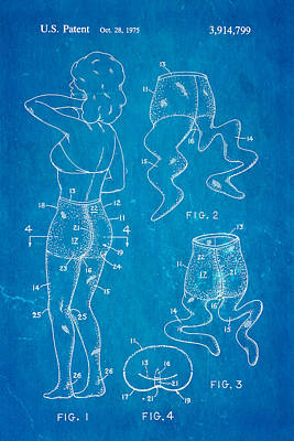 Newmar Pantyhose Patent Art 2 1975 Blueprint Poster by Ian Monk