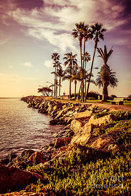 Newport Beach Jetty Vintage Filter Picture Poster by Paul Velgos