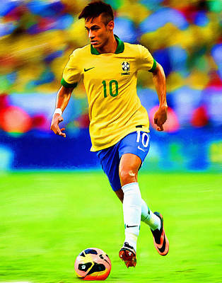 Neymar Soccer Football Art Portrait Painting Poster by Andres Ramos