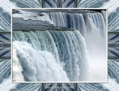Niagara Falls American Side Closeup With Warp Frame Poster by Rose Santuci-Sofranko