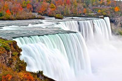 Niagara Falls In Autumn Poster by Frozen in Time Fine Art Photography